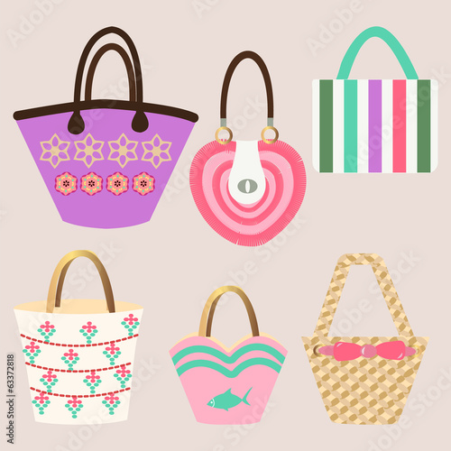 Set of Summer handbags - Illustration