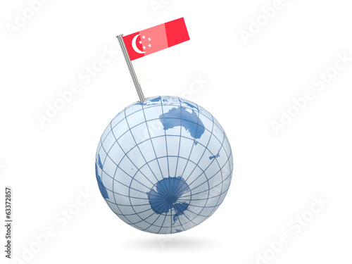 Globe with flag of singapore