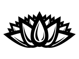 silhouette of a lotus flower on a white background