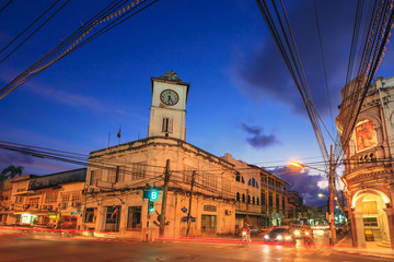 Old building in Phuket at twilight, Thailand