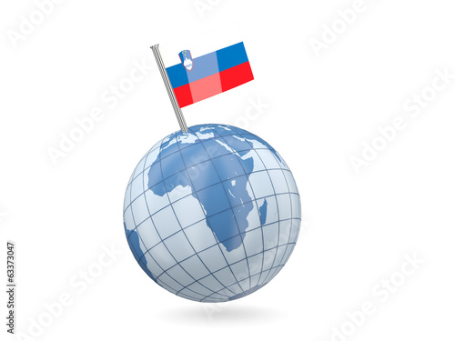 Globe with flag of slovenia