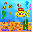 Underwater world with yellow submarine