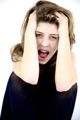 Teenager girl shouting isolated