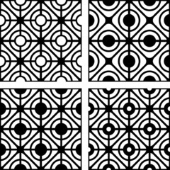Lattice patterns set. Seamless geometric textures.