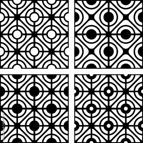 Lattice patterns set. Seamless geometric textures.