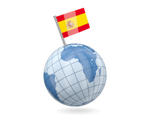 Globe with flag of spain