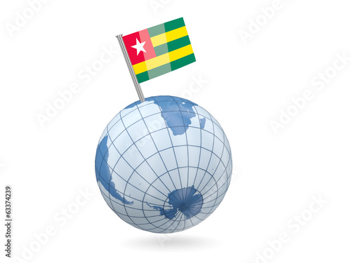 Globe with flag of togo
