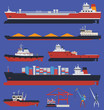 Cargo ships and tug boats infographic - 63374687