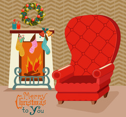 Color retro room with fireplace, and big soft chair for Christma