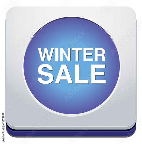 winter sale glossy icon isolated on white background