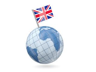 Globe with flag of united kingdom