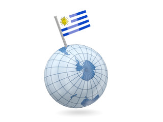 Globe with flag of uruguay