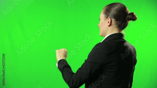 Business woman hand moving touchscreen gestures