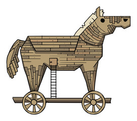 Trojan horse on a white background