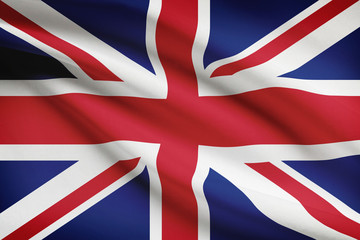 Series of ruffled flags. United Kingdom of Great Britain
