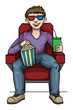 Man watching 3d movie in a cinema, with drink and popcorn