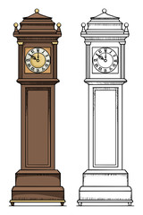 Old vintage clock, colored, and black and white outline