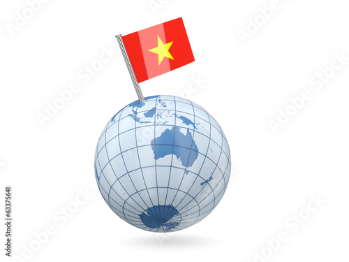 Globe with flag of vietnam