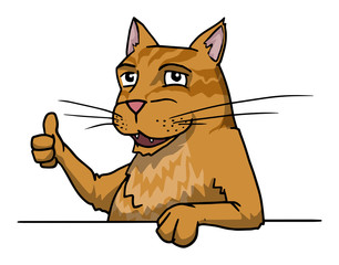 Cute ginger cat giving thumbs up, approve