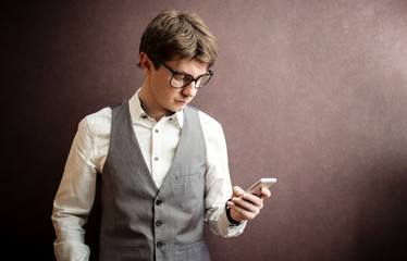 Smart Man using mobile smartphone