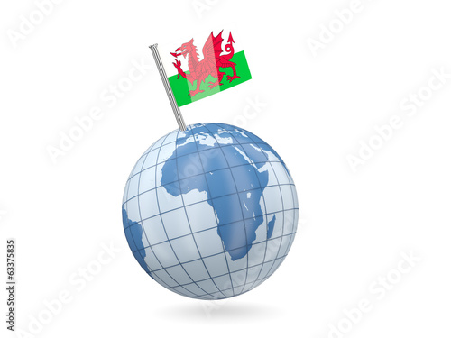 Globe with flag of wales