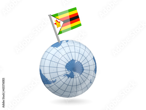 Globe with flag of zimbabwe