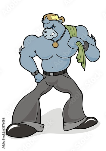 gangster angry bear cartoon character