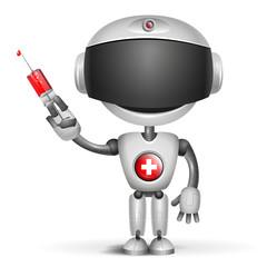 Robot Doctor holding medical injection syringe