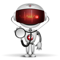 Robot Doctor with stethoscope. Screen indicator show cardiogram.
