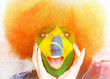 canvas print picture - Girl with brasilian colors in face - soccer fan in sunny stadium