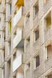 canvas print picture - Fassade, Entkernter Plattenbau vor Abriss
