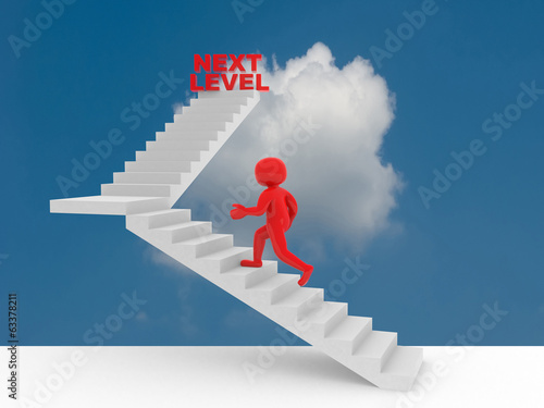 3d person climbs the ladder of next level
