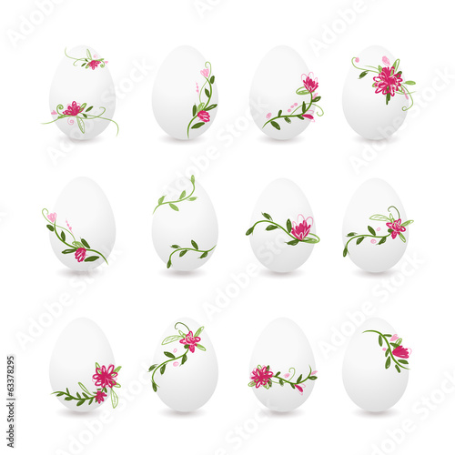 Easter eggs collection, floral desogn