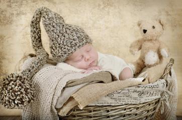Newborn im Korb