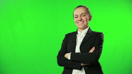 Beautiful business woman with green screen background