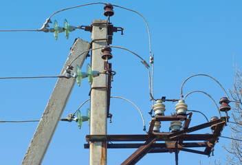 Electrical post with wires