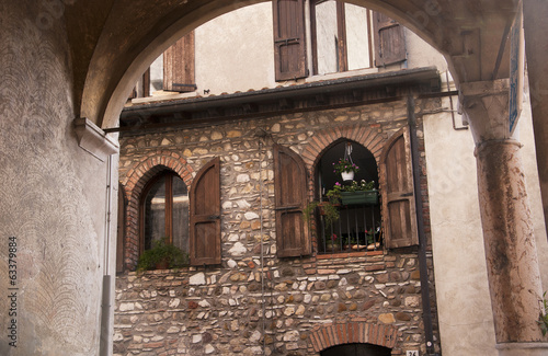 Ancient buildings at Sirmione on Lake Garda Italy