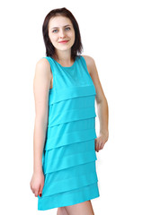 Girl 18 years old, in light blue sleeveless dress
