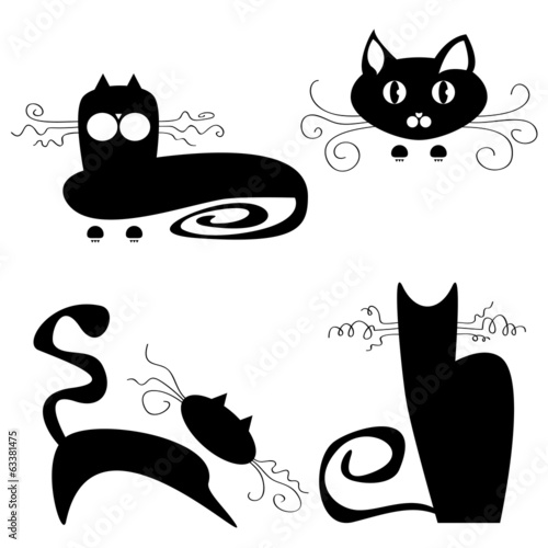 Black cats on white background.