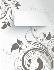 Abstract floral background with 3D effect banner