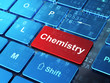 Education concept: Chemistry on computer keyboard background