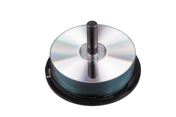 Pile of CD DVD isolated on White - Stock Image