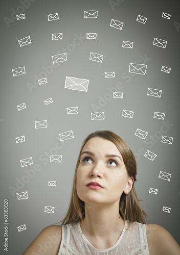 Girl in white and letters