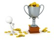 3D Trophy with gold coins and 3d man