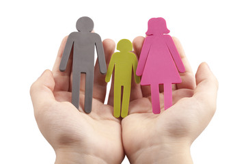 Family in Kid Palm Concept - Stock Image
