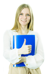 The business lady holds the blue folder in hand