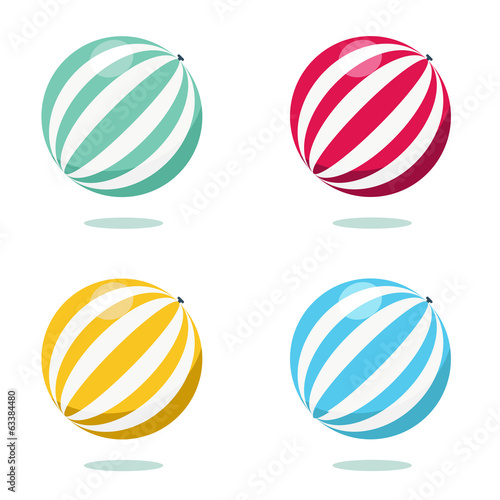 Bright inflatable ball isolated on white