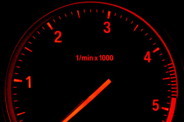 Illuminated diesel car tachometer