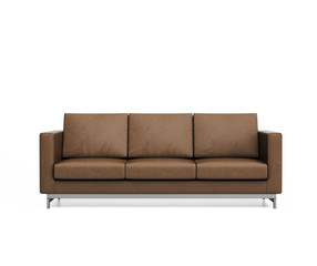 Isolated minimal brown leather sofa