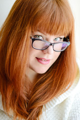 redhead  girl with glasses